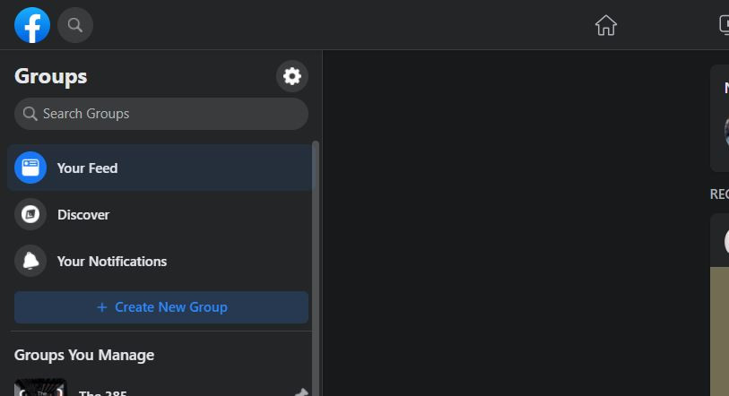 Screenshot of the Facebook Groups page