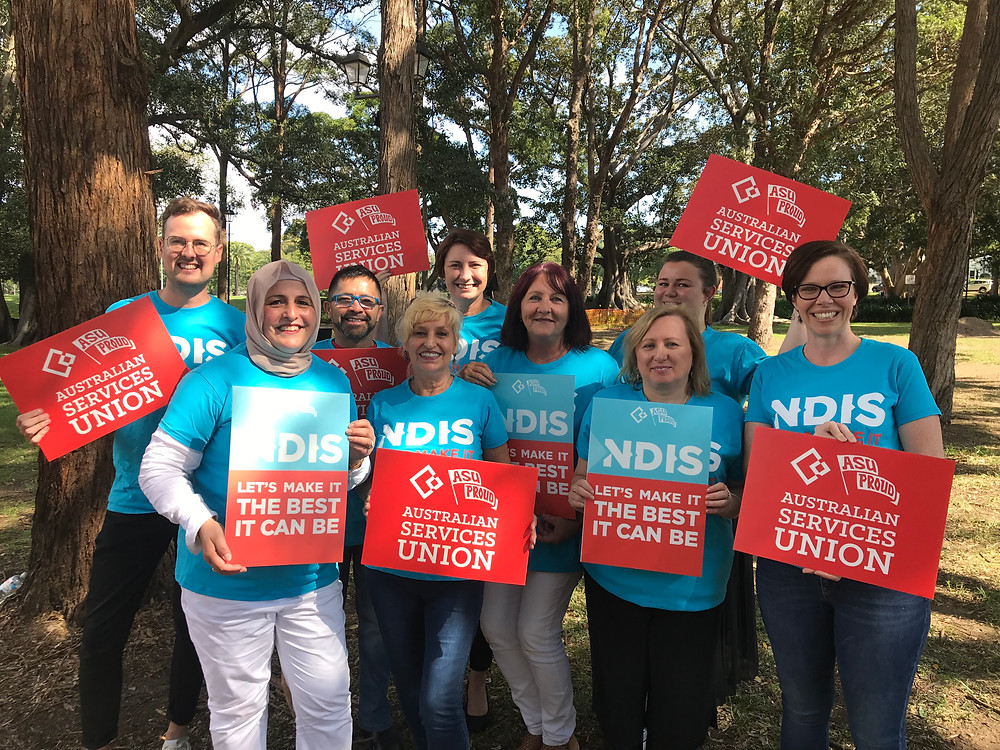 ASU Members at Burwood today celebrating this huge win for the NDIS sector