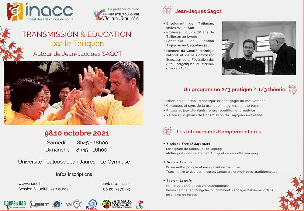 transmission et éducation par le taijiquan - tai chi chuan , Jean-Jacques Sagot. La Grande Ourse, affiliée FAEMC, partenaire de l'INACC.