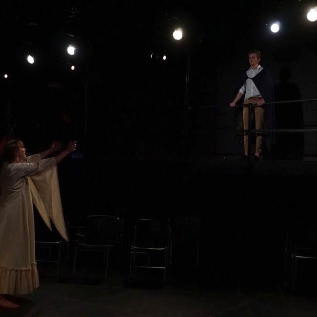 Hermione (Agatha Pokrzywinski) appeals to Leontes.