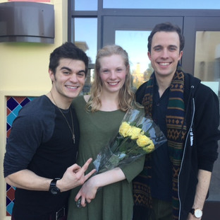 Moritz, Wendla, and Melchior post-performance.