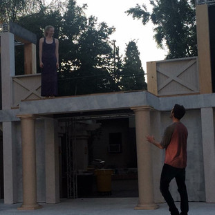 A precarious rehearsal on the partially-constructed balcony.