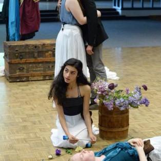 Girl 3, as Laertes (Ava Lalezarzadeh) cautions Ophelia.