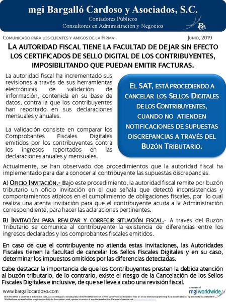 LA AUTORIDAD FISCAL TIENE LA FACULTAD DE DEJAR SIN EFECTO LOS CERTIFICADOS DE SELLO DIGITAL DE LOS C