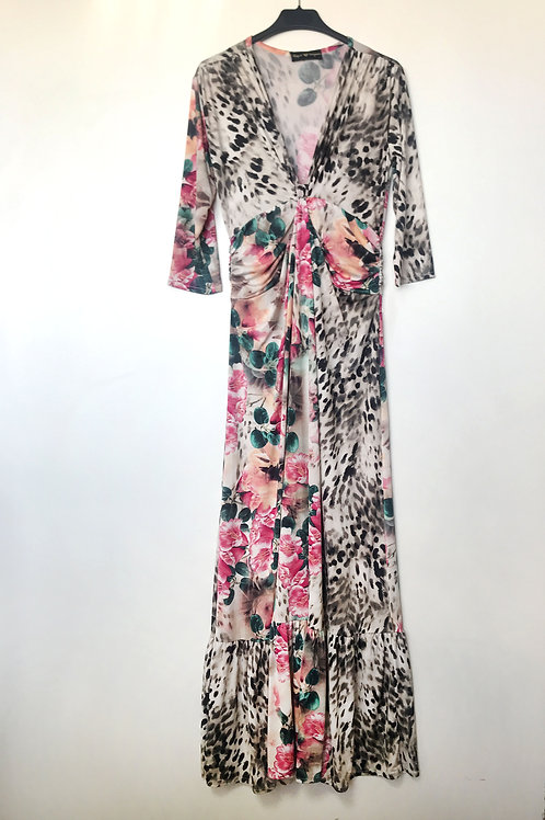 Vestido nudo animal print & rosas