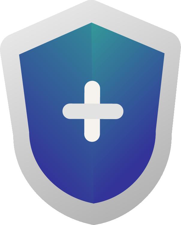 Desenho de Escudo Azul e Verde fazendo referência a Plano de Saúde Individual, Plano de Saúde Empresarial, Plano de Saúde Premium - Cotar Plano de Saúde - Miami Saúde