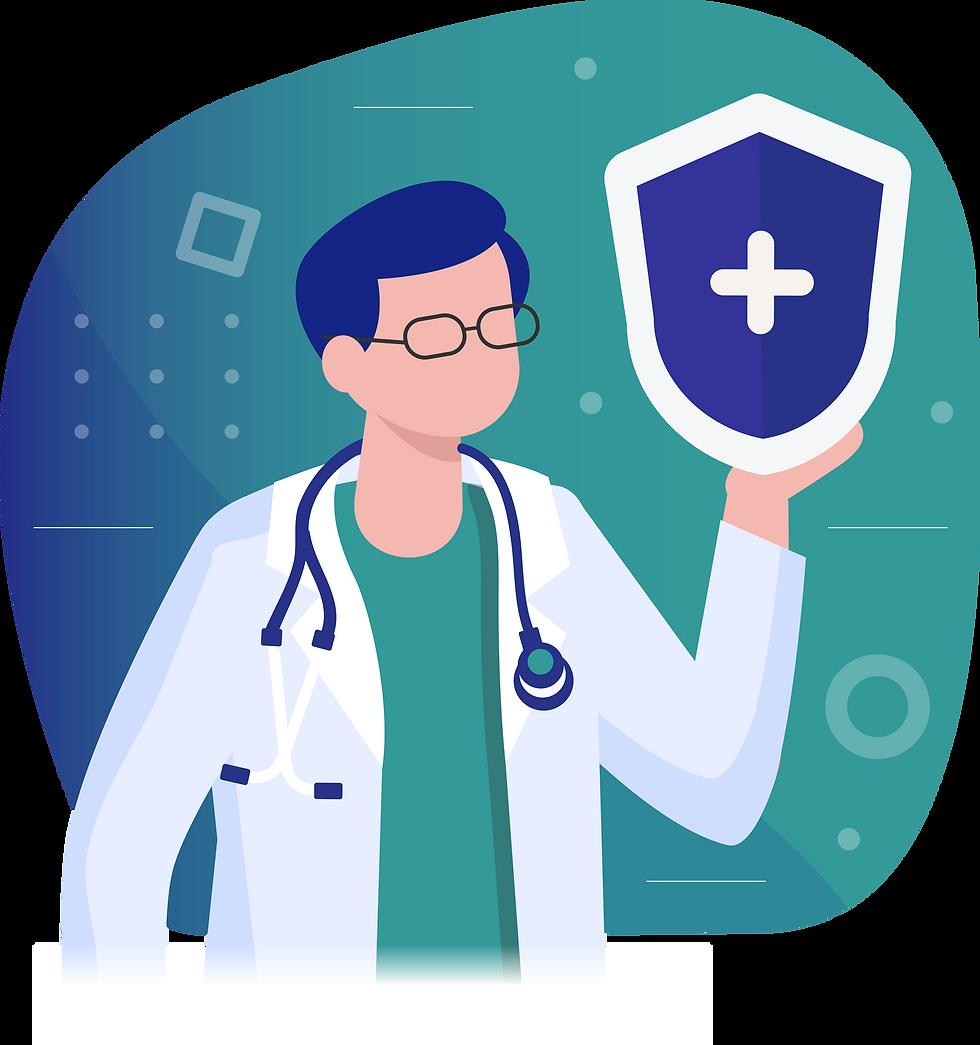 Desenho de Médico segurando um escudo como referência à plano de saúde - Contrate hoje seu plano de saúde - Miami Saúde