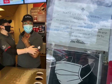 Ignorant Tim Horton's Employees Violate By-Law By Discriminating A Mask Exempt Torontonian