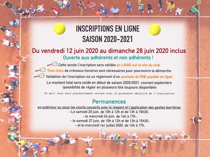 INSCRIPTIONS EN LIGNE                 Saison 2020/2021