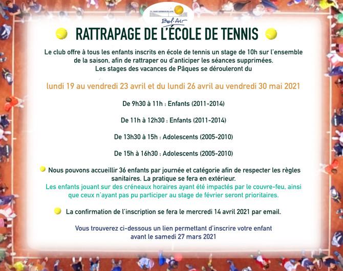 💡RATTRAPAGE ECOLE DE TENNIS- VACANCES DE PAQUES💡