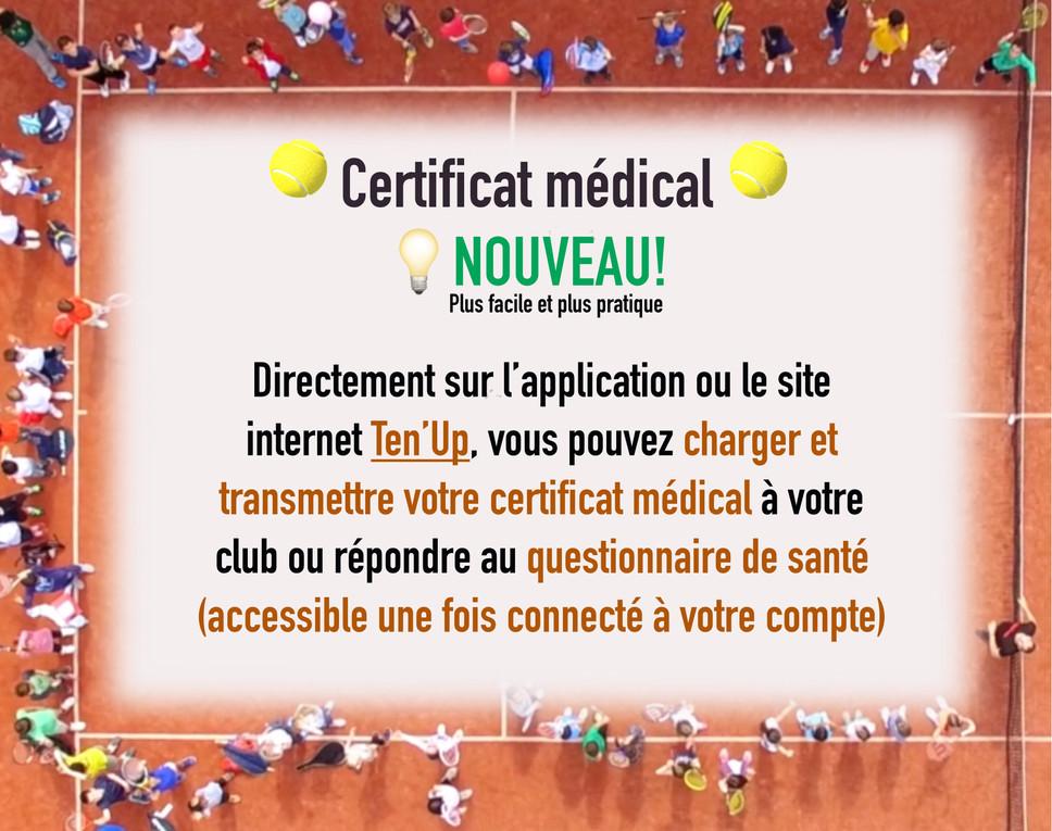 CERTIFICAT MÉDICAL - Nouvelle procédure!