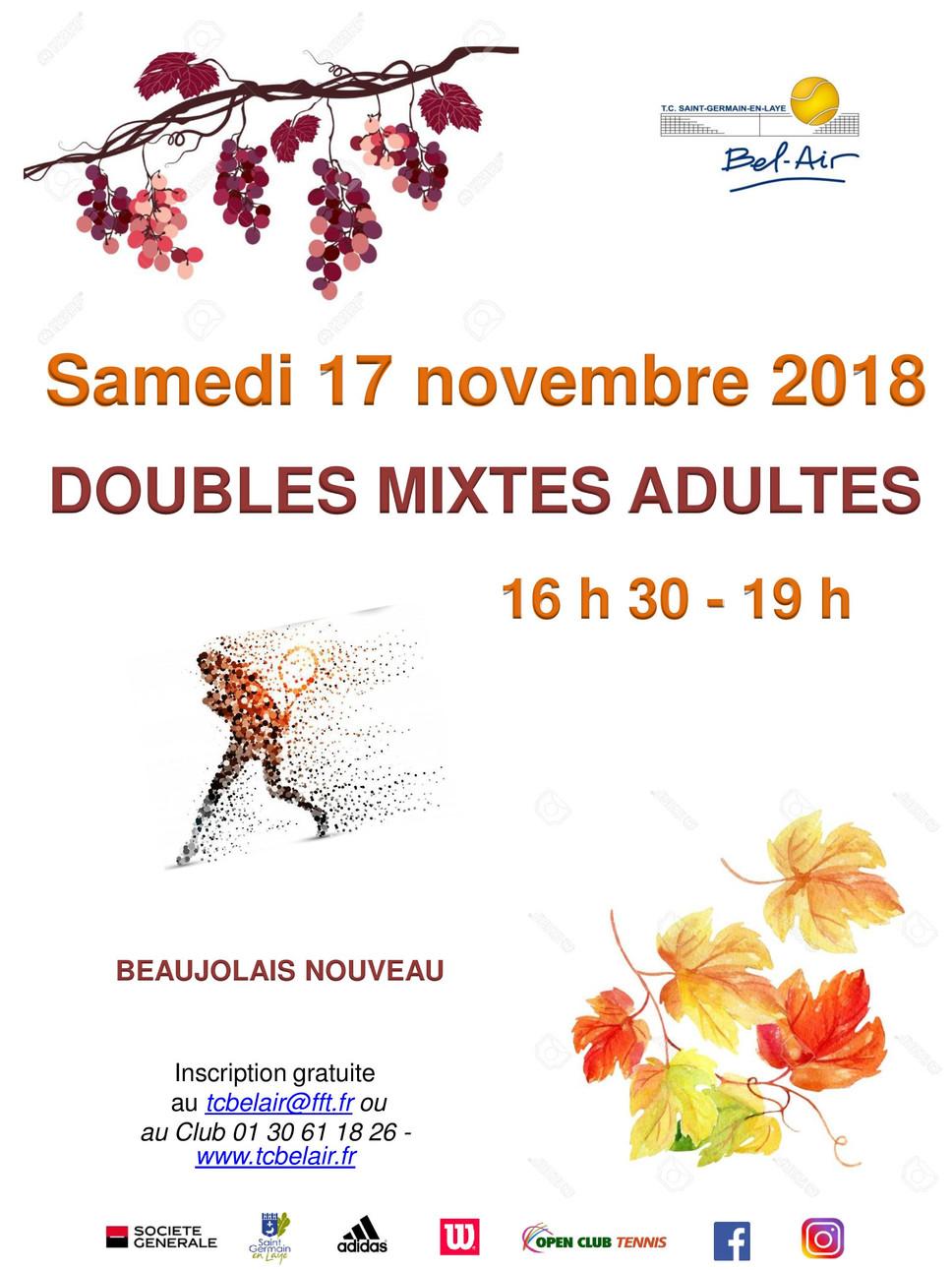 Doubles mixtes + apéritif le samedi 17 novembre 2018