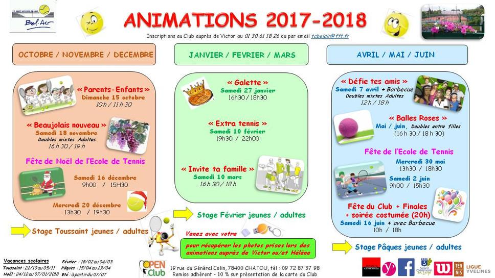 PLANNING DES ANIMATIONS 2017/2018