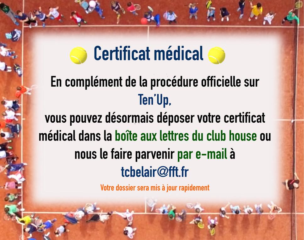 Certificat médical - complément d'information