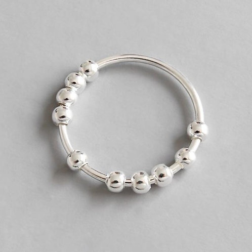 Anxiety Relief Beaded Ring - 100% Sterling Silver