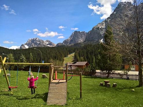 Hotel Corona Ferrea garden family holliday kids sappada italy dolomiti alpi mountains relax