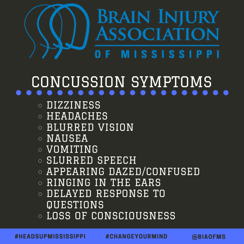 Some of the more common concussion symptoms include: