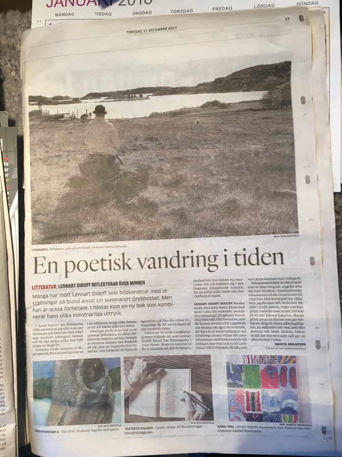 Nu artikel ute om Lennart Didoffs bok Bindande tid.