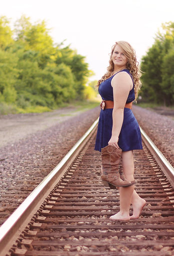Senior photography, railroad tracks girl woman blue dress and boots