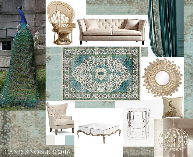 Peacock Concept Room Interior Design E-Design Aqua Turquoise