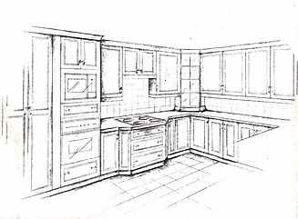 Hand Perspective Rendering Kitchen Design Candis Noble E-Design