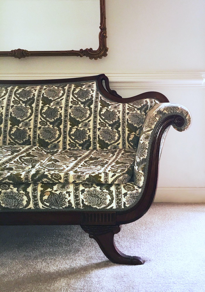 Graceful Gooseneck Sofa-Gilt Mirror