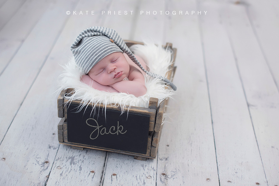 Newborn baby boy photographed at three weeks old
