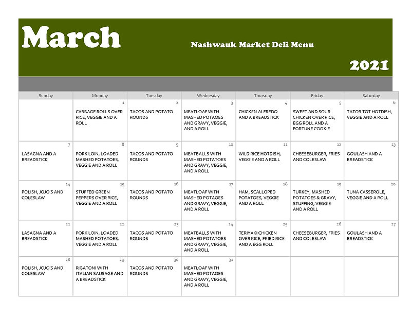 March         Nashwauk Market Deli Menu