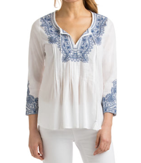Vineyard Vines: Shell Embroidered Pintuck Top