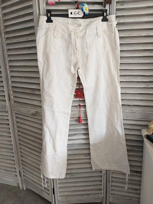 Pantalon blanc en Lin T42