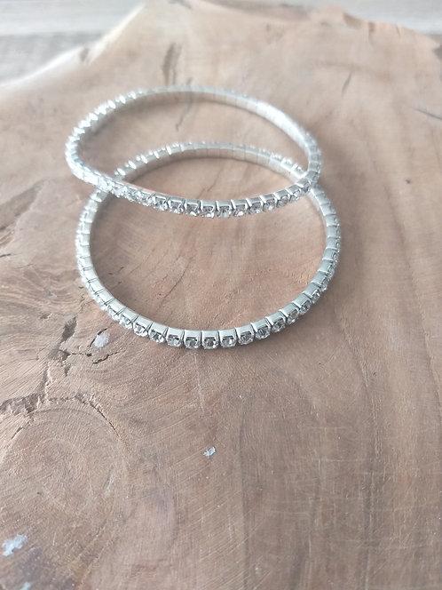 Lot de 2 bracelets à strass