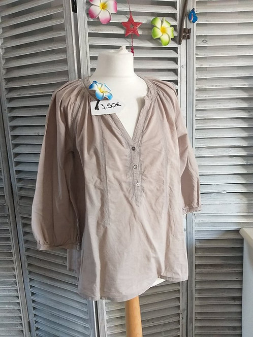 Blouse Beige Manche 3/4 Taille 38