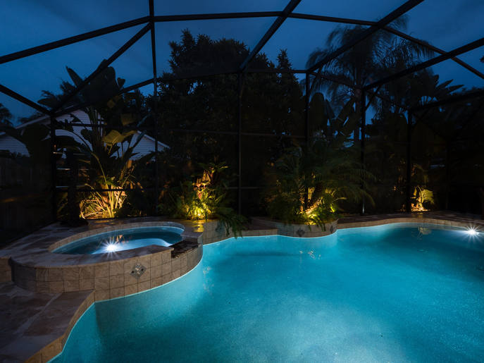 Real Estate Night Pool Photo