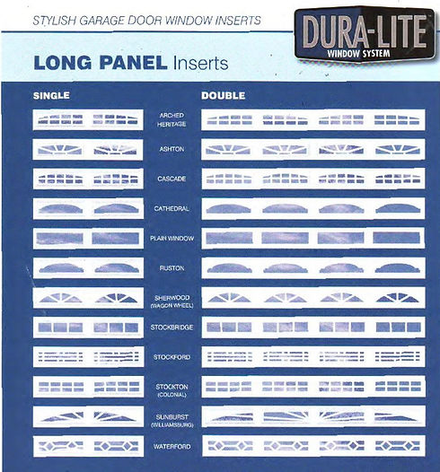 Duralite garage door windows selection