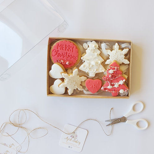 Christmas Iced Biscuit Gift Box - Red