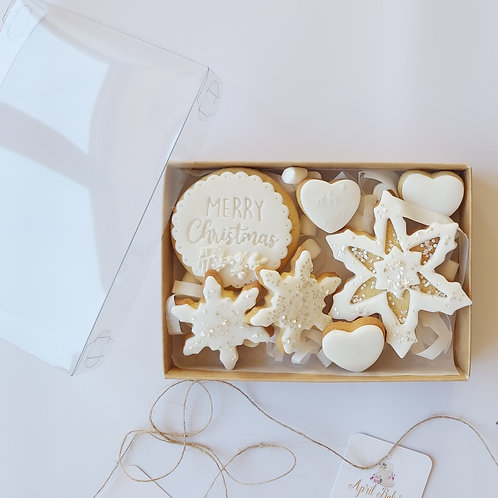 Christmas Iced Biscuit Gift Box - White