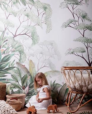 Papier peint tropical botanique enfant.p