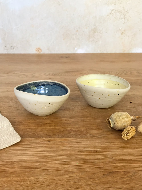 Pair of Salt Bowls - Yellow and Blue