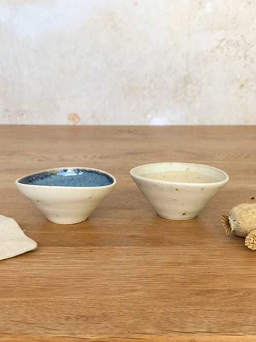 Pair of Salt Bowls - Blue and Sand
