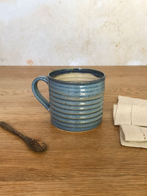 Misty Blue Ribbed Mug