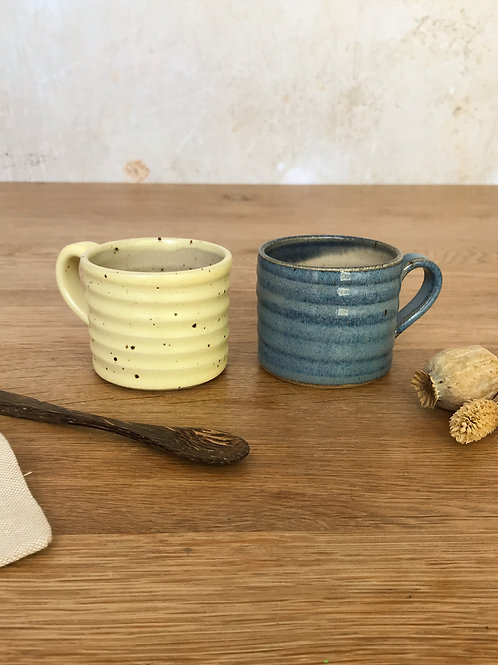 Pair of Espresso Cups - Yellow and Blue