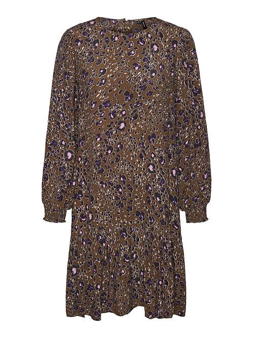 KHAKI LEO PRINT DRESS