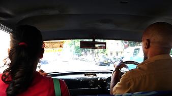 In Ambassador car