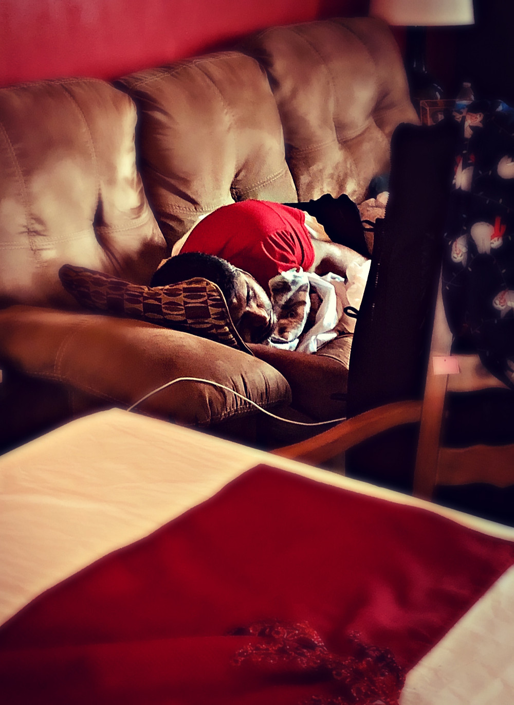 I took this picture of him on Christmas Day after he spent his energy playing the role of Papa Claus.