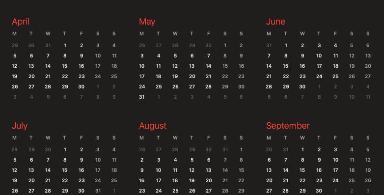Market Days Schedule