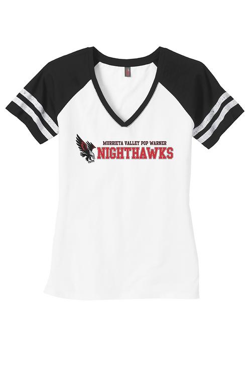 NightHawks - GLITTER Ladies Game VNeck TShirt