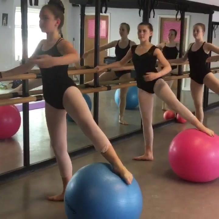 Students working hard on their strength at 'Dancing Academy' Chippenham . . well done girls !