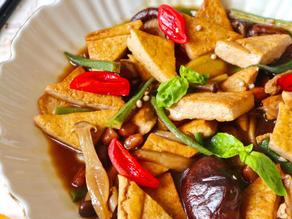 Braised mushrooms, chestnuts & tofu bowl (onions and garlic free)