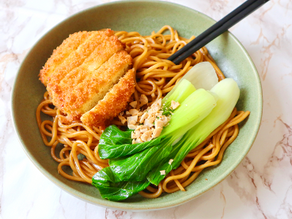 Vegan Tofu Katsu Noodle Bowl (onions and garlic free)
