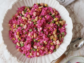 Dragon fruit Fried Rice (onions and garlic free)